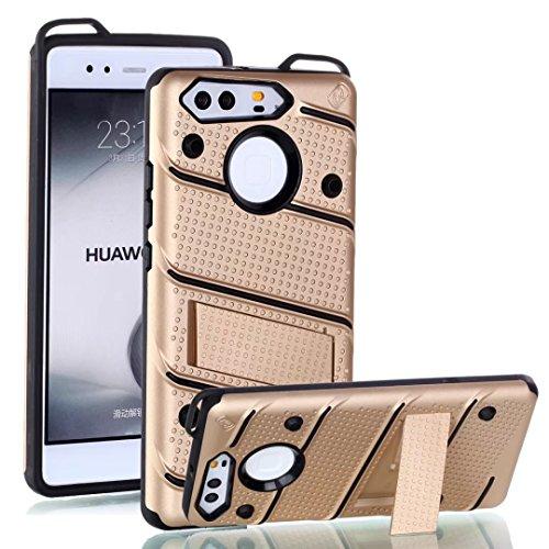 EKINHUI Case Cover Dual Layer Hybrid Armor Schutzhülle Shockproof Stoßfänger mit Kickstand für Huawei P9 ( Color : Green ) Gold