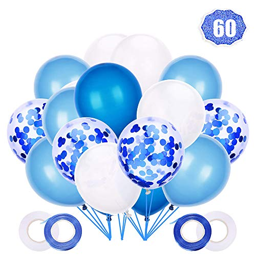 LAKIND 60 Stück Luftballons Blau Weiss, Blau Konfetti Helium Ballons12 Zoll für Hochzeit Junge Geburtstag Taufe Konfirmation Baby-Duschen Feiertage Feste (Taufe Ballons Blaue)