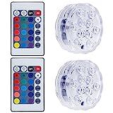 Lictin 2 Unterwasser Licht mit Fernbedienung und 6 Batterien RGB Multi Farbwechsel Wasserdichte LED Leuchten für Vase Base Aquarium Teich Halloween Party Weihnachten ( 2,0 Watts)