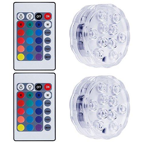 2 Pcs Lampe Lumière Submersible, Lictin Lumière LED Submersible de Multiples Couleurs Lampe de Décroration pour Soirée Piscines Vase Aquarium Etang, avec 2 Télécommandes