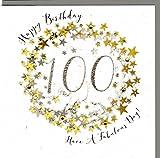 Wendy Jones-Blackett Glückwunschkarte zum runden 100. Geburtstag veredelt mit Kristallen und Glitter. Eine sehr hochwertige und originelle Geburtstagskarte, auch für Geschenkgutschein oder Geldgeschenk. WP099