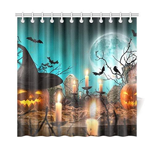 JOCHUAN Wohnkultur Bad Vorhang Halloween Kürbisse auf Holzbohlen blau Polyester Stoff wasserdicht Duschvorhang für Badezimmer, 72 x 72 Zoll Duschvorhang Haken enthalten (Halloween-gesichter Schnitzen Auf Kürbis)