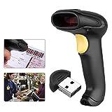 Excelvan USB Kabel+ Bluetooth Wireless Laser Barcode Scanner Laser Handheld Lesegerät für WinXP/7/8/8.1/10/Vista/Android/IOS Schwarz