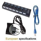 Apark USB 3.0 Hub 7 Ports Dockingstation USB HUB mit Netzteil USB Verteiler SuperSpeed bis zu 5Gbp Datenhub, mit 7-/Off-Schalter, für Windows/Mac/Linux Schwarz