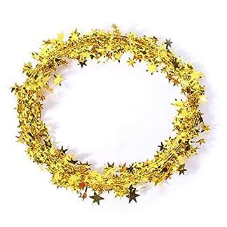 Cosanter Alambre de Hierro Espumillón para Cinta de árbol de Navidad Navidad Colgar Decoración Adornos de Navidad (Dorado) 7m