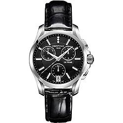 Certina - Reloj de Cuarzo para Mujer, correa de Cuero color Negro