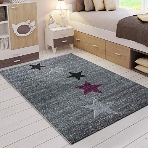 VIMODA Teppich Modern Design Grau Lila Schwarz Weiß Jugendzimmer Kurzflor Stern Muster - Pflegeleicht und Top Qualität, Maße:80x150 cm - Und Lila Schwarz Teppich