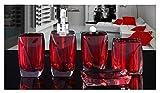 Bellabrunnen 5-teiliges Design Badset Acryl Kristall Look Seifenspender WC Badezimmer Set, Rot