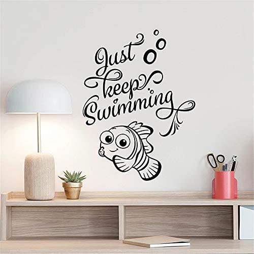 men Sie einfach weiter Nemo Dory Art Fish Badezimmer Zitat für Kinderzimmer Schlafzimmer Dekor finden ()