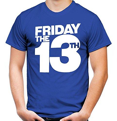 3 Männer und Herren T-Shirt | Freitag der 13 Halloween Horror Geschenk (M, Blau) (Jason Halloween Kostüm Ideen)