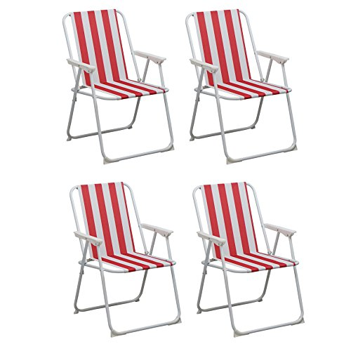 Folding Portable Beach / Camping Deck Chair - Red Stripe - Pack of 4