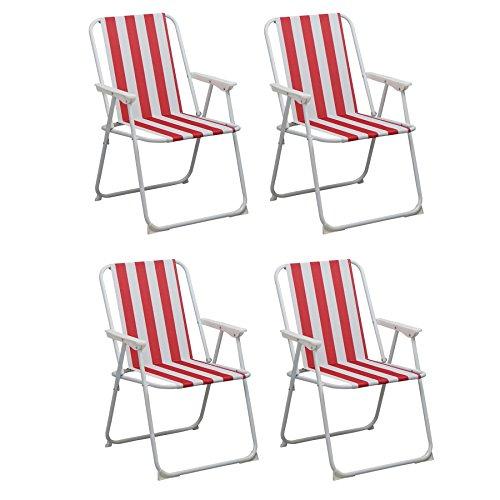 pieghevole-sedia-a-sdraio-spiaggia-campeggio-portatile-red-stripe-confezione-da-4