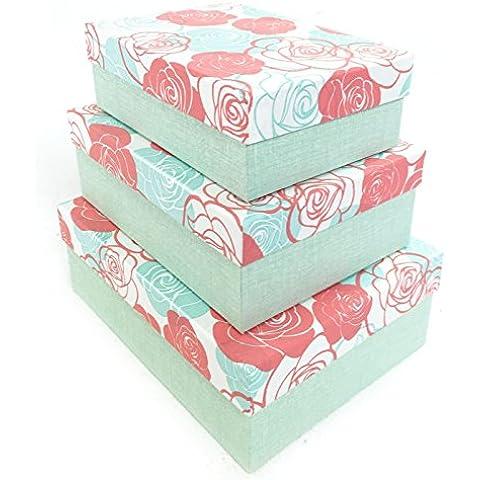 Rosa Fiore cartone rigido regalo Craft Natale Brithday scatola regalo anniversario [Verde], Set of 3 (S + M + L) - Scatola Di Cartone Crafts
