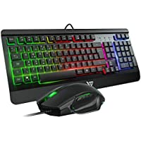 VicTsing Gaming Keyboard Mouse UK Layout【Rainbow LED Backlit Metal Keyboard, Programmable Mouse】 Gaming Keyboard and Mouse Set with Ergonomic Wrist Rest, Comfortable & Durable - Black