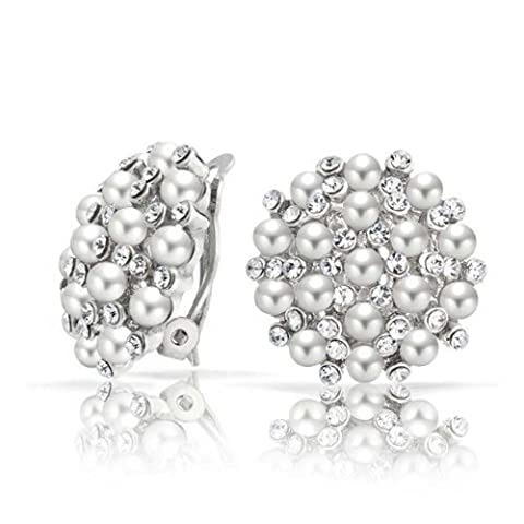 Bling Jewelry Crystal White Simulated Pearl Clip On Earrings Rhodium Plated Brass