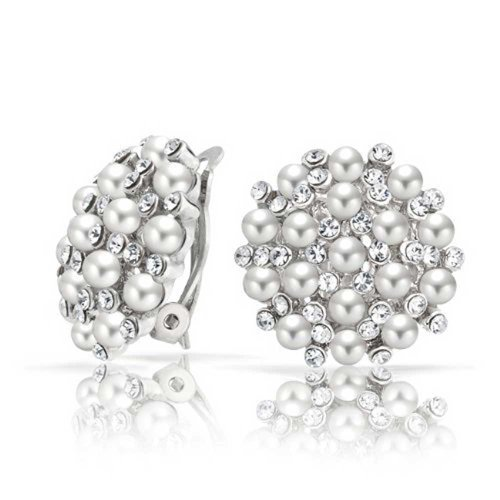 Crystal Runde Kuppel Simuliert Weißen Kaviar Perlen Taste Ohrclips Ohrringe Für Damen Messing