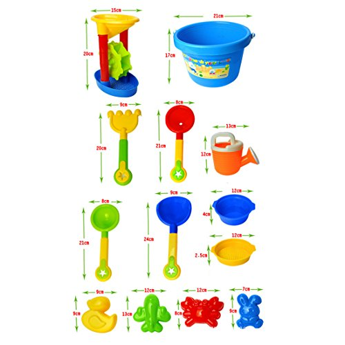 YAVSO Sandspielzeug, 13er Sandkasten Spielzeug Strandspielzeug mit Sandform, Eimer, Schaufel für Mädchen Junge Kinder Kleinkind Baby