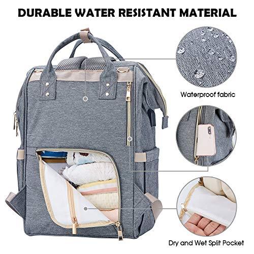 Imagen para Athelain Mochilas para Pañales de Viaje - con Bolsa de Preservación de Calor, Material Impermeable, Bolsa de Hombro Grande Bolso para la Madre y el Cuidado del Bebé