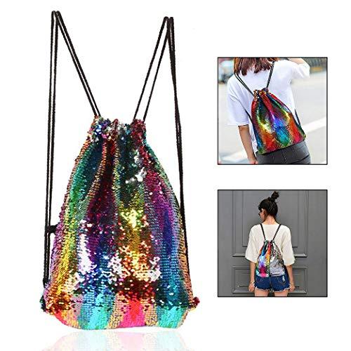 LHKJ Pailletten Tasche,Kordelzug Pailletten Rucksack Glitzer Pailletten Tasche für Kinder Erwachsene
