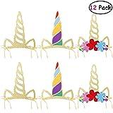 LUOEM Sombreros de cuerno de unicornio 12 piezas Fuentes de fiesta de...