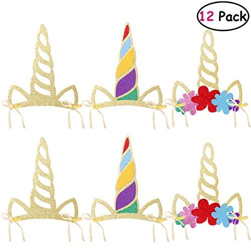 LUOEM Sombreros de cuerno de unicornio 12 piezas Fuentes de fiesta de unicornio de brillo Diadema de unicornio para niños/niñas/niños/adultos Fiesta de cumpleaños de un bebé fiesta de unicornio