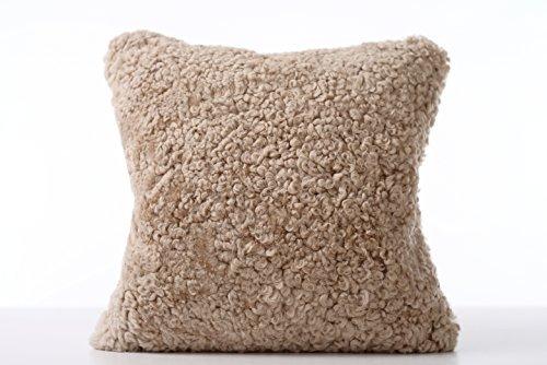 Genuine lato singolo, Cuscino in vello di pecora australiana-Plaid in lana d'agnello, da WaySoft/100%-Cuscino in pelle di pecora naturale, lusso, stile contemporaneo, colore: bianco avorio, 40,64 cm x (16 (16 40,64 cm), Caffè, 16in x 16in