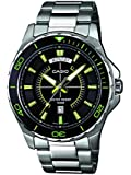 Casio Men's Quartz Watch with Black Dial Analogue Display and Silver Stainless Steel Bracelet MTD-1076D-1A3VEF