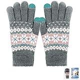 ECOMBOS Touchscreen Handschuhe Damen - Frauen Winter Warm Handschuhe Touch Screen Fäustlinge mit Fleecefutter, Weihnachten Geschenke für Damen Mädchen (Schnee-Grau)