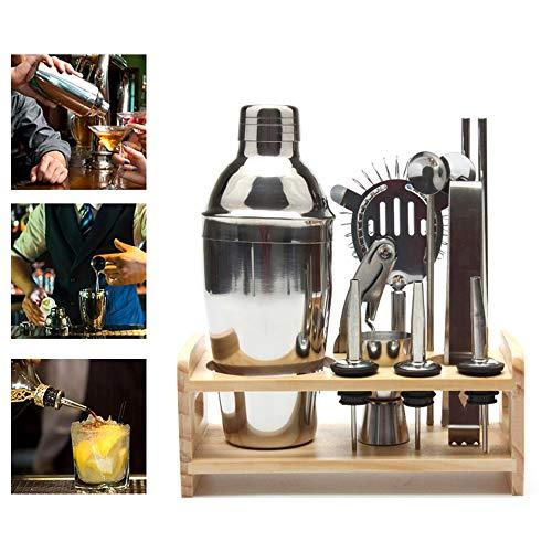 Cocktail Making Set, UMIWE 13PCS Barman en acier inoxydable Bar Tool Set, Shaker Cup 550ml, Jigger, Pinces à glace, Bec verseur, Pailles, Cuillère à bar, Passoire, Tourne-vis en liège, Etagère en bois