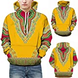 Freizeit Top-Herbst Winter African 3D Print Langarm Hoodies Sweatshirt Top-Kapuzen Bluse -Langarm Blusen -Sweatshirt Oberteil -Pulli Pullover Rollkragen - Sweatjacke(Gelb,5XL)