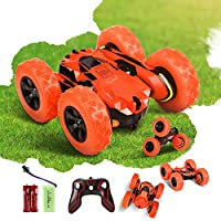 Innoo Tech RC Stunt Car Rechargeable Racing Car with 2.4Ghz Remote Control, High Speed Car Toys 4WD Double Sided 360° Spins and Flips Driving Car Toys for Kids Boy(Orange)