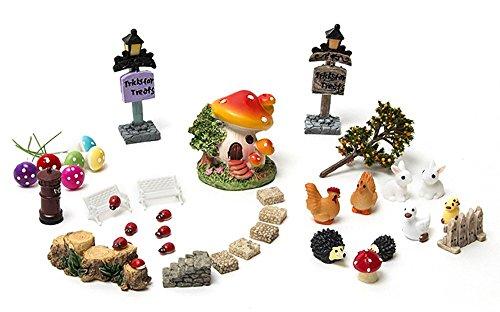 Secretrain 38Pcs Miniature Fairy Garden Ornament DIY Dollhouse Kit