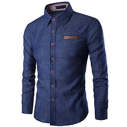 Herren Beiläufig Langarm-Shirt  Business Slim Fit Hemd Cowboy Bluse oben Herren Pocket Rechtschreibung Langarm Shirt Jeanshemd (Marine, L=EUM) (Cowboy Anzüge)