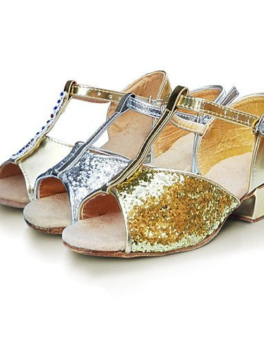 ShangYi Chaussures de danse ( Jaune / Blanc / Argent / Or ) - Non Personnalisables - Talon Bas - Satin / Flocage / Synthétique - Latine Silver
