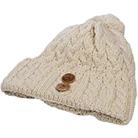 Aran Woollen Mills Ladies Winter Hat - Super Soft 100% Merino Wool -Warm Beanie with Buttons - Brown - One Size