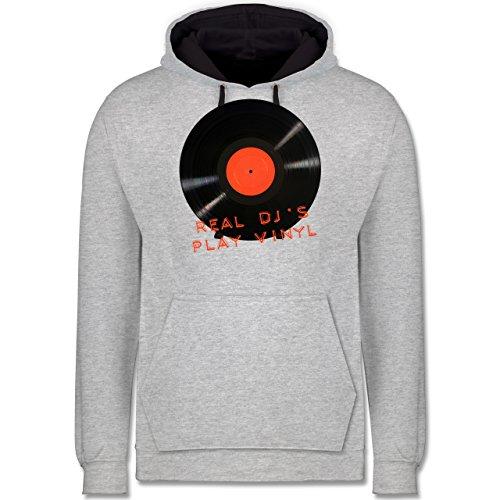 Techno & House - Real DJ's play Vinyl - Kontrast Hoodie Grau meliert/Dunkelblau