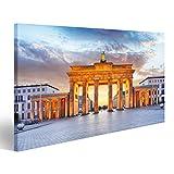 islandburner Bild Bilder auf Leinwand Berlin - Brandenburger Tor in der Nacht Wandbild, Poster, Leinwandbild JMW