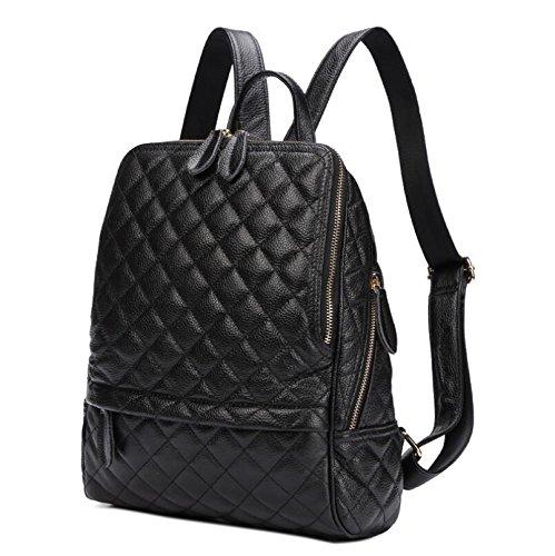 Dual-Use-rhombischen einzelne Schulter Rucksack Rucksack Tasche Leder-Laptop-Tasche Black