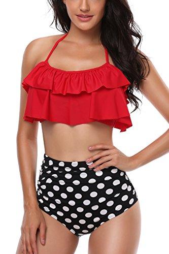 Damen Badeanzug Baden (Sixyotie Damen Bikini Sets Hoch taillierte Halter Vintage Badeanzug Plus Größe Push Up Zweiteilige Bademode Strandkleidung (Rot, EU 38/40))