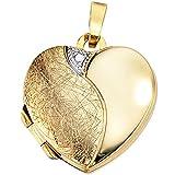 Medaillon Anhänger Herz zum Öffnen 333 Gold Gelbgold teileismatt Halsschmuck