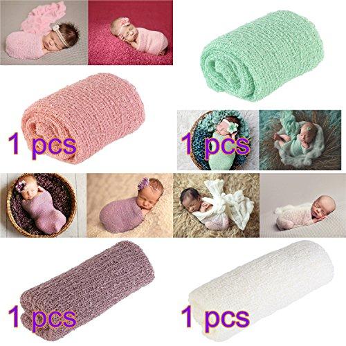 OULII lunga Ripple avvolgere, DIY Newborn Baby Fotografia Wrap-BAby Photo puntelli favori, confezione da 4 (neve colore dentale menta verde lilla + + panna colore)
