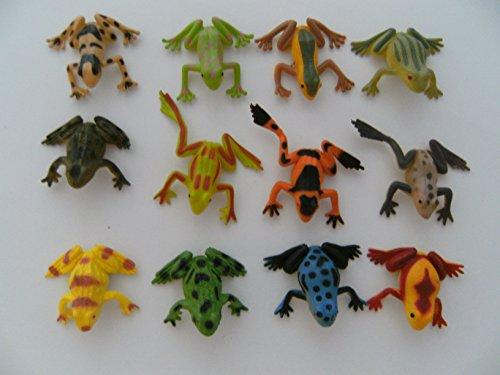 Frösche 12erSet 4-5 cm Hartgummi Kröte Pfeilgiftfrösche Spielzeug -