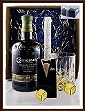 Geschenk Connemara Single Malt Whiskey Irland mit 2 Original Edelstahl Kühlsteine, goldfarbend, im Smoking + Glas, kostenloser Versand