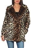 Malito Damen Jacke | Kurzmantel mit Leoparden Print | Kunstfell Jacke mit Knöpfen | Fleecejacke - Winterjacke 9358 (braun, S)