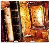 Wallario Herdabdeckplatte/Spritzschutz aus Glas, 2-teilig, 60x52cm, für Ceran- und Induktionsherde, Antike Laterne mit Kerze Alten Büchern und Taschenuhr