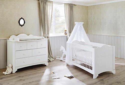 Preisvergleich Produktbild Pinolino 091642B 2-Teilig, Kinderbett und Breite Wickelkommode mit Wickelaufsatz, Kiefer Massiv, 140 X 70 cm, weiß lasiert
