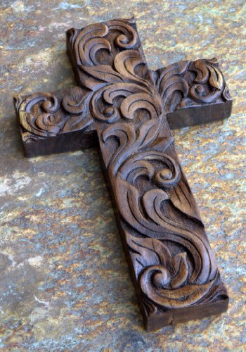 geschnitztes Kreuz aus Teakholz, Thailand, 22,5 cm