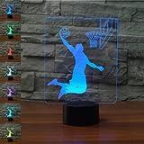LED Lampe Nachtlicht,KINGCOO Magical 3D Visualisierung Amazing Optische Täuschung Touch Control Light 7 Farben ändern Schreibtischlampen für Kinderzimmer Home Decoration Best Geschenk (Dunk König/Basketball)