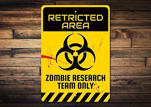 Restricted Area Sign Wissenschaftlerschild Forscher Schild Zombie Geschenk Zombie Schild Vorsicht Hinweisschild Gefahrenschild Metall Blechschilder für Heimdeko Wand Post Hauseinweihungsgeschenk
