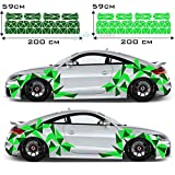 Seitenaufkleber Dreieck Auto Sticker CAR Tattoo New Eckig Decal Mix Set 2 Farbig 194 Teiliges Camouflage Style New